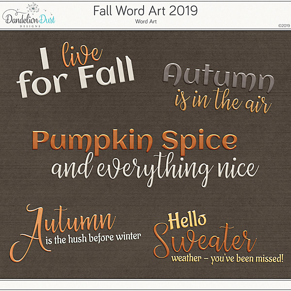 Fall Word Art 2019 Goodie