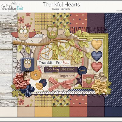 Thankful Hearts Digital Scrapbook Collection