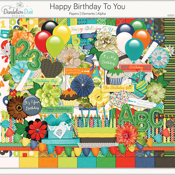 Happy Birthday To You Digital Scrapbook Collection