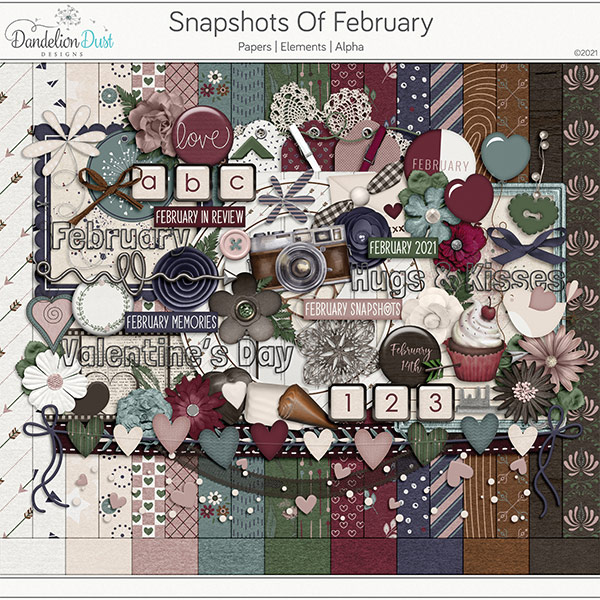 Snapshots Of February Digital Scrapbook Collection